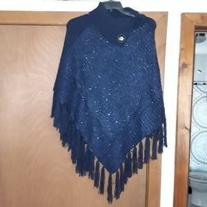 Blue sweater poncho
